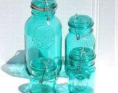 4 Green Vintage Ball Ideal Jars with Wire Closure, Kitchen Decor, Kitchen Storage, Home Decor