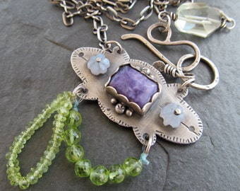 Funky silver Necklace Purple Green Blue Colorful gemstone BOHO necklace Mexican inspired stamped silver pendant necklace