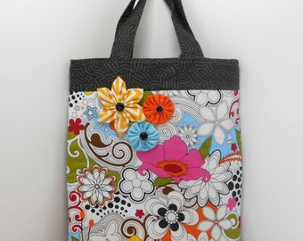 Embellished Book Bag Flower Shower with Kanzashi and Yo Yo Flowers