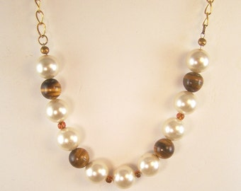 Tiger's Eye and Pearl Necklace