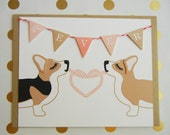 """Valentine's Day """"4like EVER"""" Heart Welsh Corgis Flag Garland Blank Note Card with Envelope"""