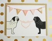 """Valentine's Day """"I Pug You"""" Heart Mimi the Pug Dogs Flag Garland Blank Note Card with Envelope"""