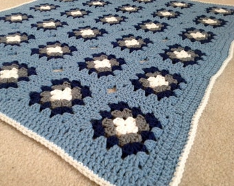 Baby  Boy  Blanket Granny Squares  in Blue, Navy, Grey and White Ready to Ship