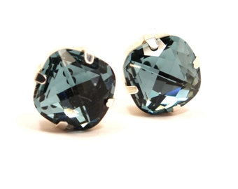 Sapphire Blue Crystal Stud Earrings Classic Sparkling Metallic Cushion Pillow Cut Solitaire Swarovski 12mm Sterling Silver Post Copper