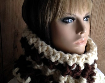 Super Chunky Cowl Big Scarf in Brown and Cream