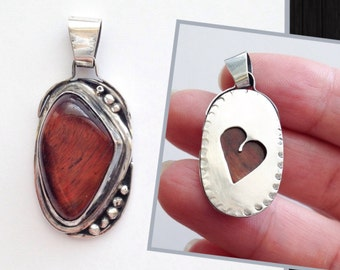 Red Tigerseye Stone with Heart - Reversible Pendant - Artisan Metalwork with Handmade Bail - Valentine Gift