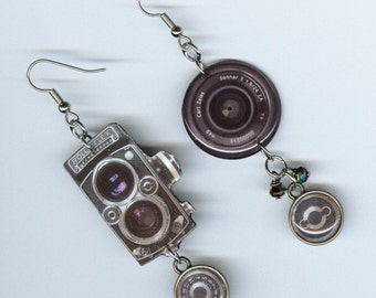 Camera Earrings Rolleiflex cameras asymmetrical earring photography photographers
