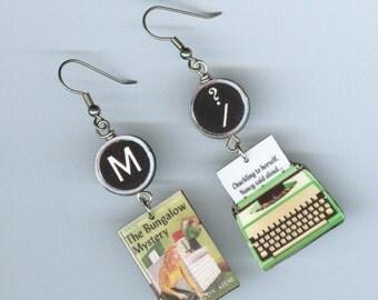 Book Cover Earrings Vintage Typewriter The Bungalow Mystery Nancy Drew