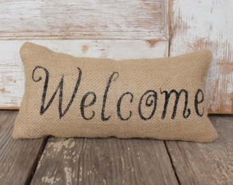 Welcome -  Burlap Feed Sack Doorstop - Typography Door Stop
