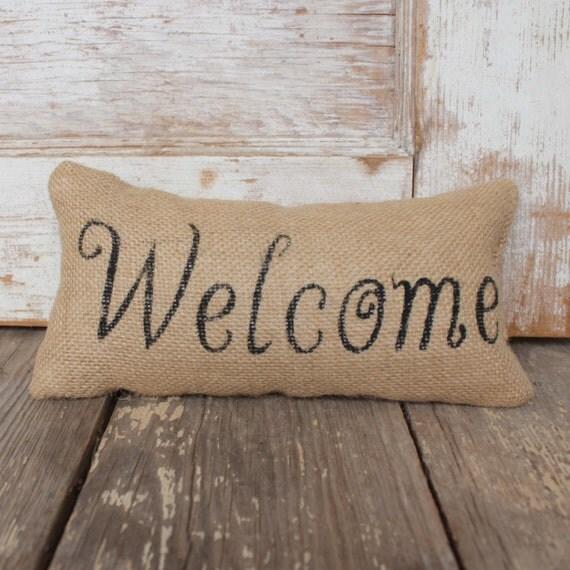 Welcome -  Burlap Feed Sack Doorstop - Typography Door Stop