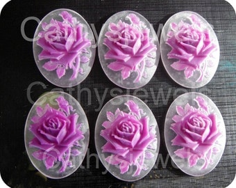 Six Mini Lilac Rose Portraiture Cameos