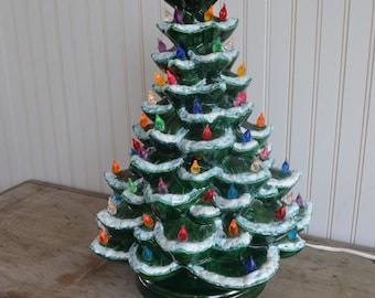 """Vintage Ceramic Lighted Christmas Tree 18"""""""