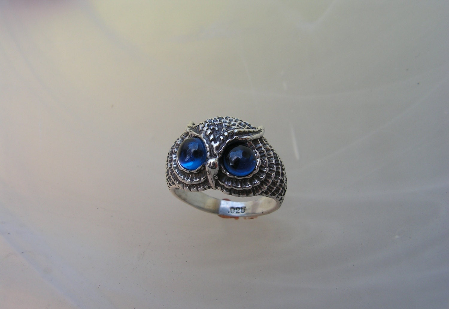 sterling silver owl ring with siberian blue