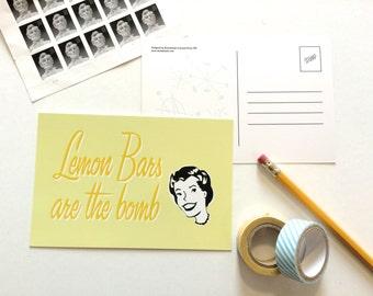 Lemon Bars are the Bomb Postcard
