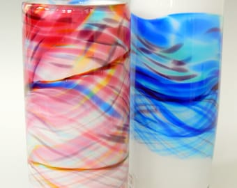 Watercolor Blue Band Hand Blown Art Glass Vase by Rebecca Zhukov