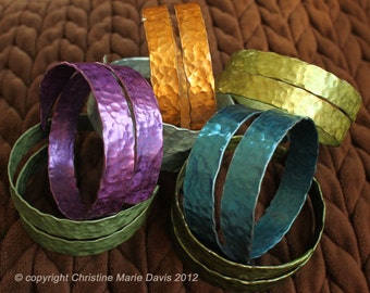 SMASHED Metal Knitting Needle Bracelet - Gift for your Knitter MOM - Made from Vintage Aluminum Knitting Needles