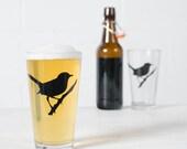 Wren, screen printed pint glassware, black