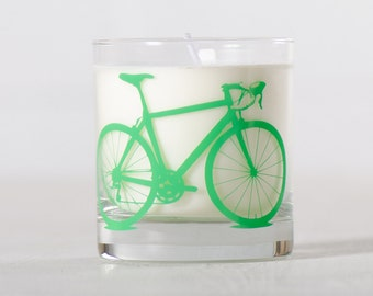 Green Bike Candle - Citrus Basil - Soy candle in reuseable screen printed bicycle rocks glass