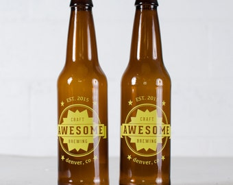 """CUSTOMIZED BEER BOTTLES - """"Awesome"""" design screen printed brown glass 12oz. homebrew bottle"""
