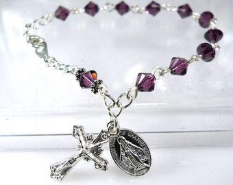 Swarovski Amethyst Crystal Rosary Bracelet-February-RCIA Gift-Purple-Catholic-Mother's Day Git