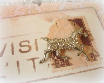 vintage pot metal and rhinestone horse pin . miniature horse pave style rhinestones red rhinestone eye