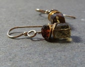 Gold Earrings Geometric Jewelry Whiskey Quartz Earrings Orange Garnet Earrings Gold Filled Earrings