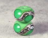Handmade Glass Lampwork Bead Pair Small, 6 11x7mm Grass Green