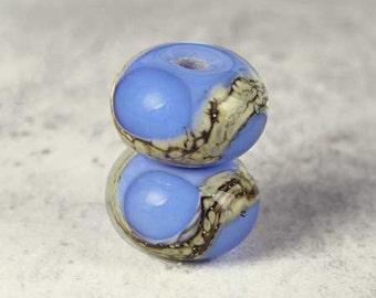 Blue on Periwinkle Handmade Lampwork Glass Bead Pair, Lampwork Beads, Glass Lampwork, Blue Beads, Glossy 11x7mm Cornflower