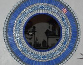 Mosaic Art Mirror-Stained Glass Mixed Media-Blue and White