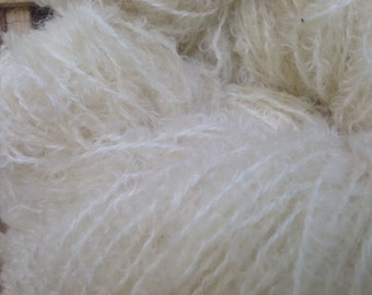 pure boucle loopy mohair natural yarn