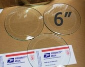 4 Pack of 6 Inch Clear Glass Circle Bevels FLAT on Back for Coasters (or memory pieces)