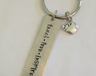 hand stamped teacher thank you keychain with apple charm