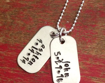 dog tag name and date necklace-mom jewelry-personalized jewelry