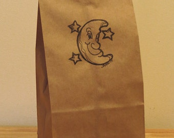 CUTE MOON Astronomy Themed Quirky Party Favor and Treat Bags. Qty: 5