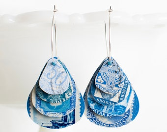 Teardrop earrings | Postage stamp | International | Blue | Layered Hoops