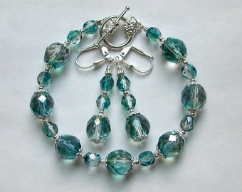 Aqua Czech Glass Bracelet and Earring Set