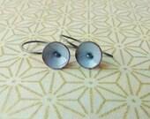 tiny poppy earrings torch fired enamel steel grey