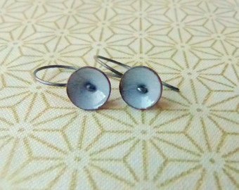 tiny poppy earrings torch fired enamel steel grey