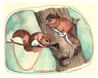 Art Print - Squirrel Print - Wall Art - Watercolor Print - Squirrel Illustration - Squirrel Art Print - 8x10 Print - Two Flying Squirrels