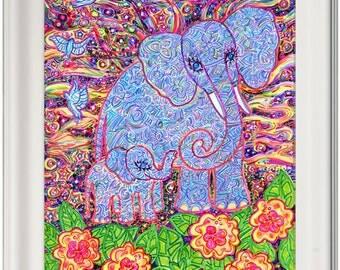 Greeting Card, Elephant, Earth, Mother, Eco-Friendly, Birds, Flowers, Stars, Baby Elephant, Sustainable Printing, Pagan, Nature, Animal, Art