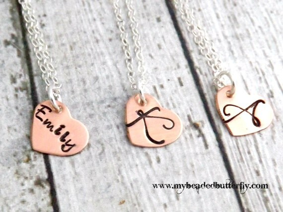personalized necklace-bridesmaid necklace-flower girl necklace-heart necklace-wedding jewelry-hand stamped necklace-first communion necklace