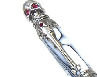 Skull Pen Gothic Style Antique Pewter with White Acrylic and Red Crystal Eyes Handmade Lathe Turned SK10