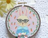 Embroidered Art Hoop - Miss Daisy Bunny