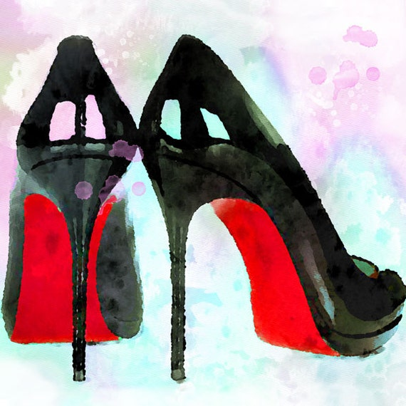 items similar to high heel shoes louboutin watercolor