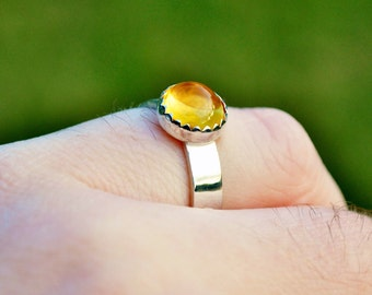 8mm Citrine Cabochon Ring in Sterling Silver Size 6.25 Gemstone Ring