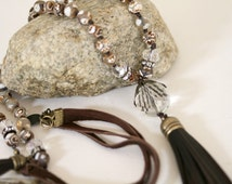 Brown and White Gemstone Chocolate Brown Tassel BOHO Style Knotted Leather Corded Necklace