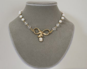 Bow Pearl and Crystal Bridal Necklace, Bow Necklace, Bridal Necklace, Bridal Jewelry, Matching Earrings, Pearl Necklace
