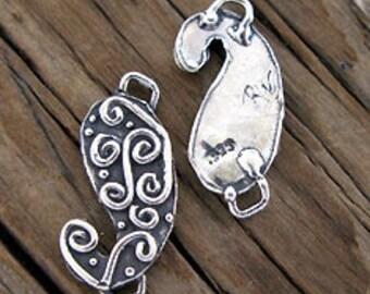 1 Artisan Sterling Silver PAISLEY Swirl Link -11x25mm