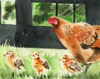 Farm Chicken Hen art Print of my watercolor painting Country Gift Decor Giclee Digital File Huge Large Big