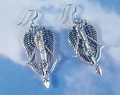 Crossbow Angel Wings Daryl Dixon Walking Dead Necklace, Car Charms, Key Chain, Bookmark